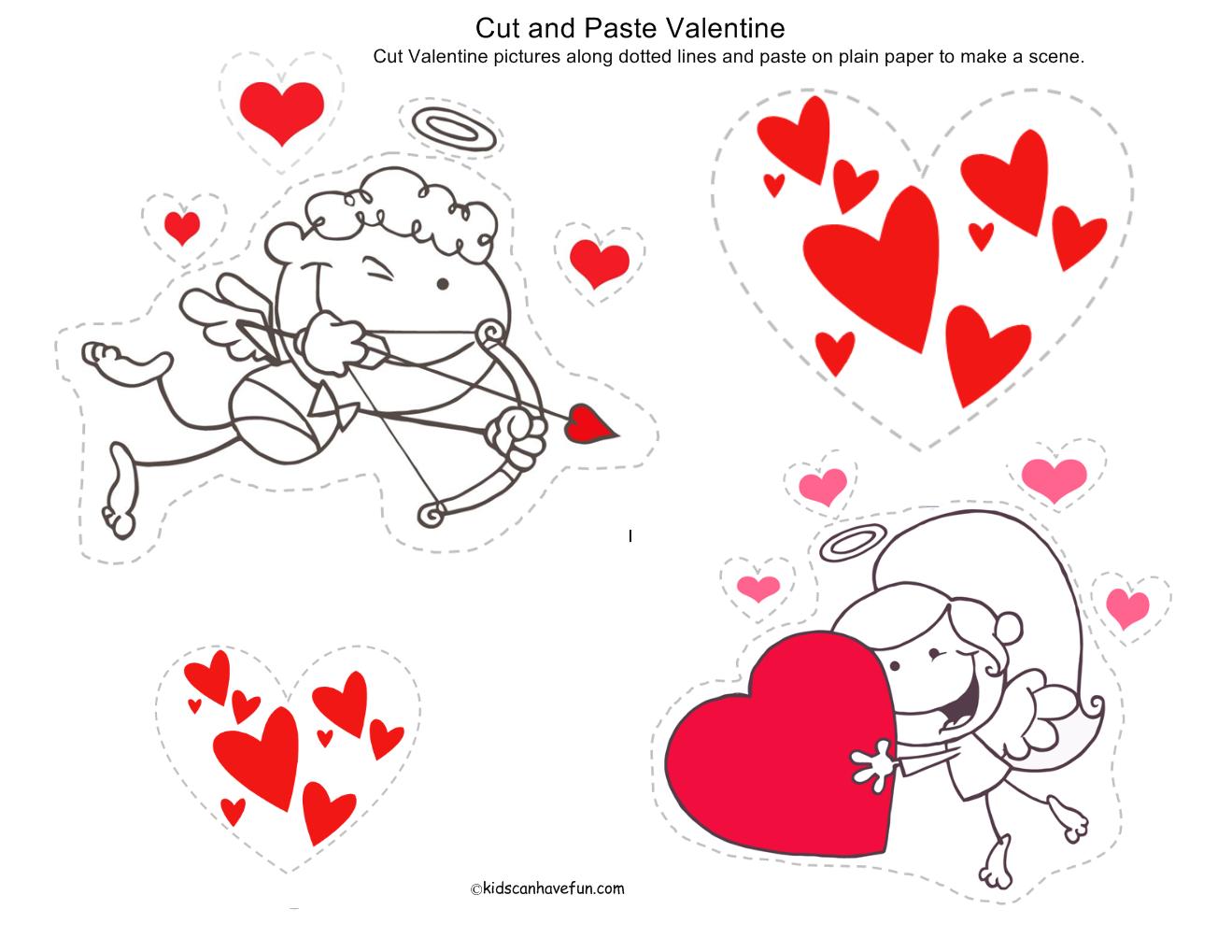 Valentine\'s Day Cut and Paste Printable - KidsCanHaveFun Blog