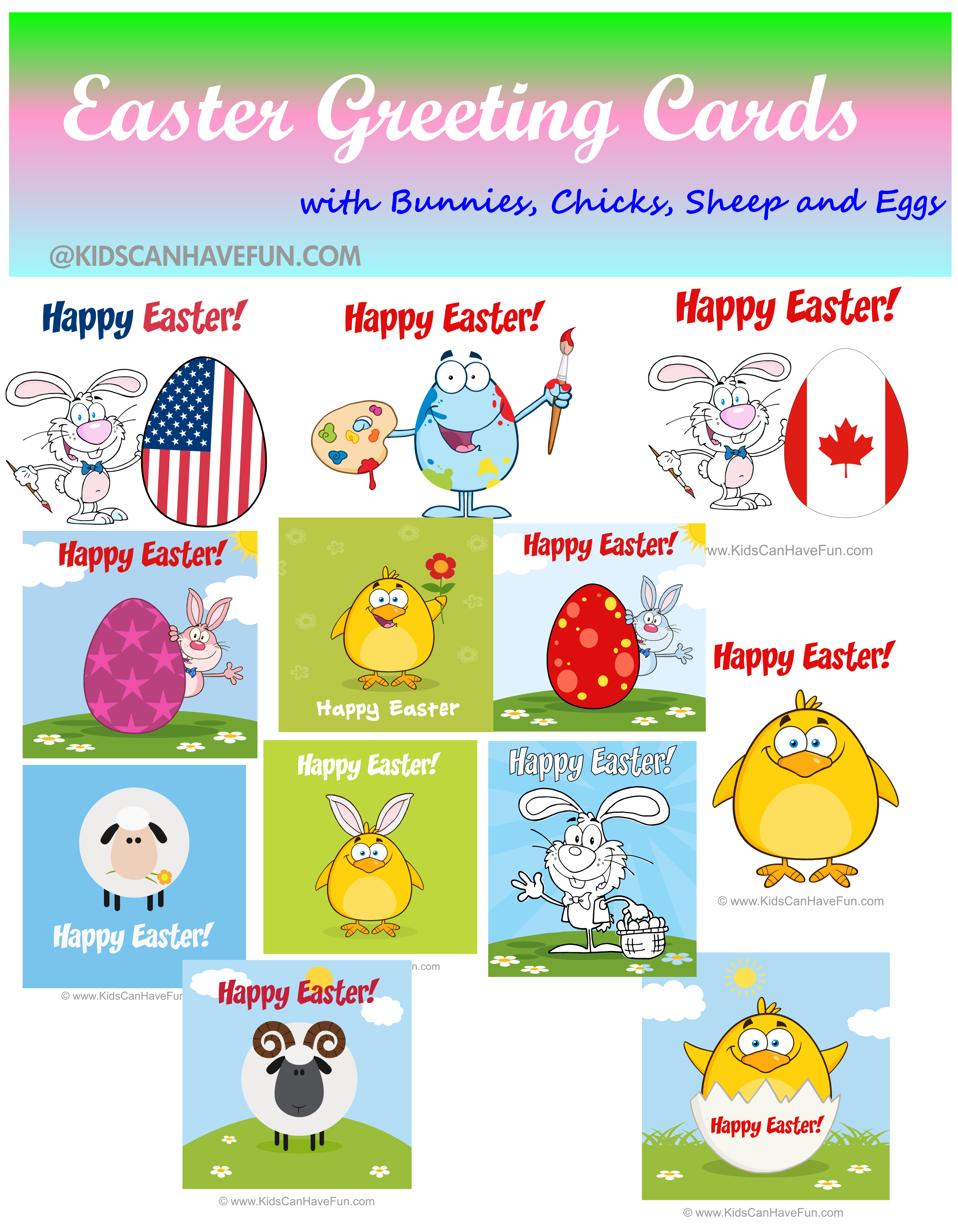 image relating to Easter Cards Printable known as Printable Easter Playing cards, Easter Greetings, Bunnies, Easter Eggs