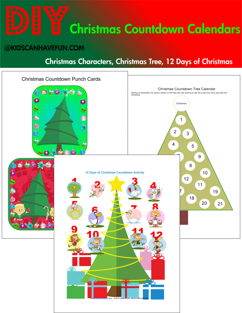 image about Christmas Countdown Printable identified as Printable Xmas Countdown Calendars - KidsCanHaveFun Site