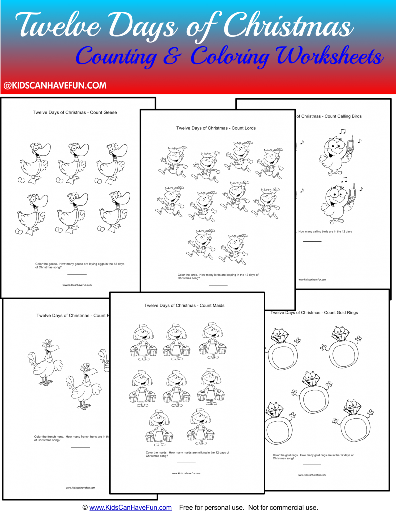The Twelve Days Of Christmas Coloring Pages Archives Kidscanhavefun Blog