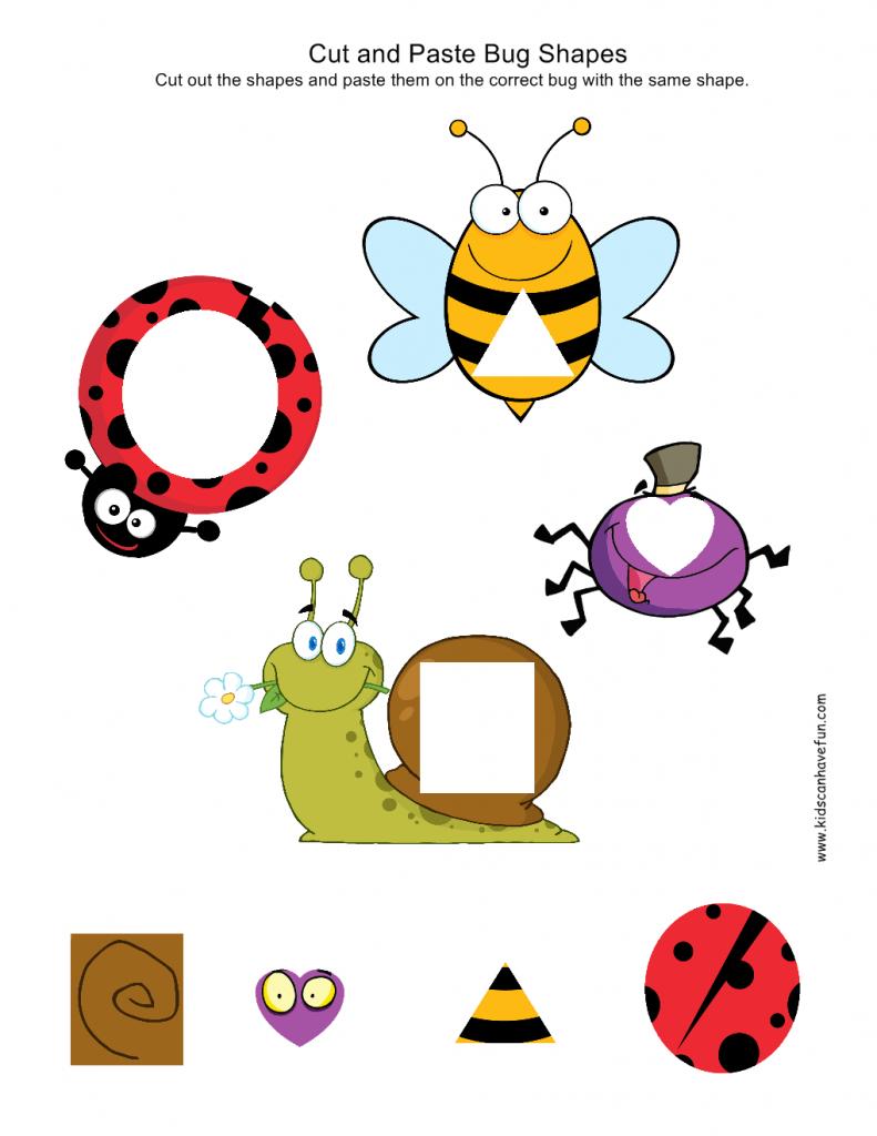 cut and paste kindergarten preschool worksheets cut and paste bug shapes
