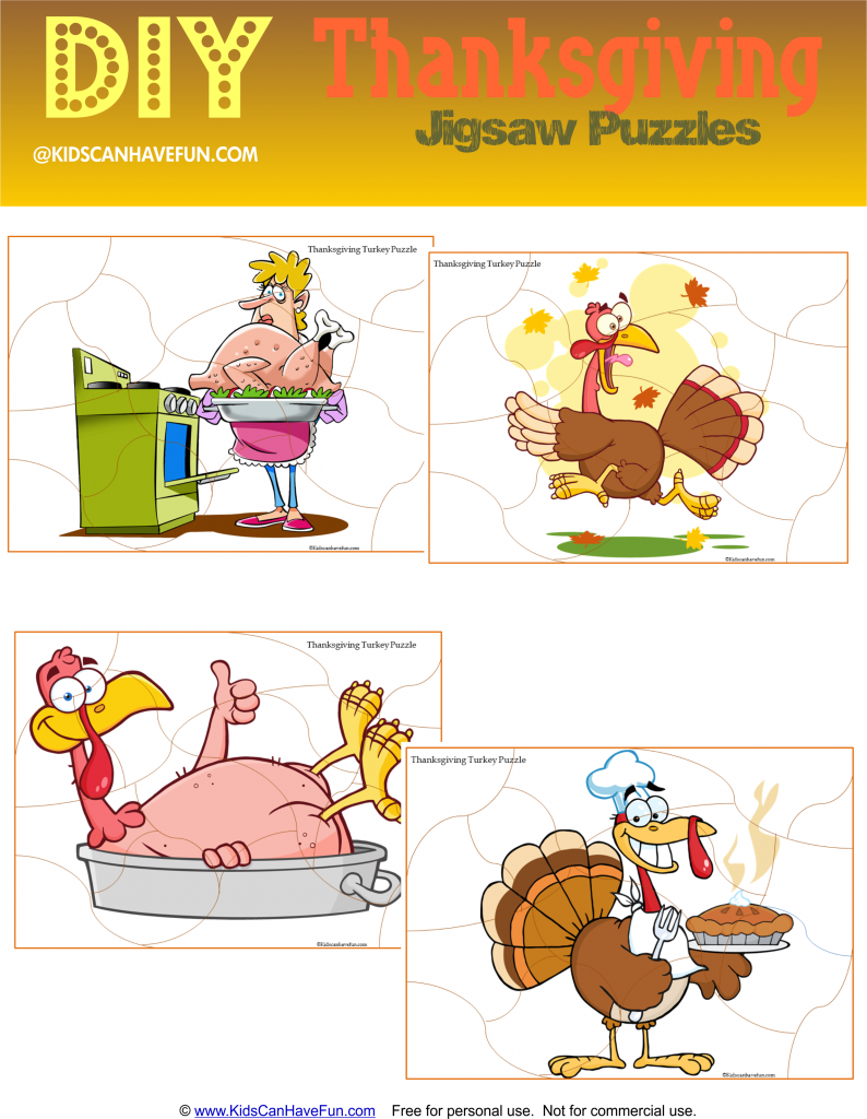 - Cut And Paste Thanksgiving Puzzles, DIY Jigsaw Puzzles For Kids