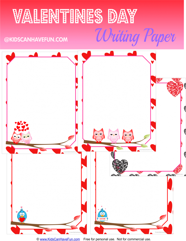graphic about Printable Notepads known as Valentines Working day Printable Paper, Notepaper, Letterhead