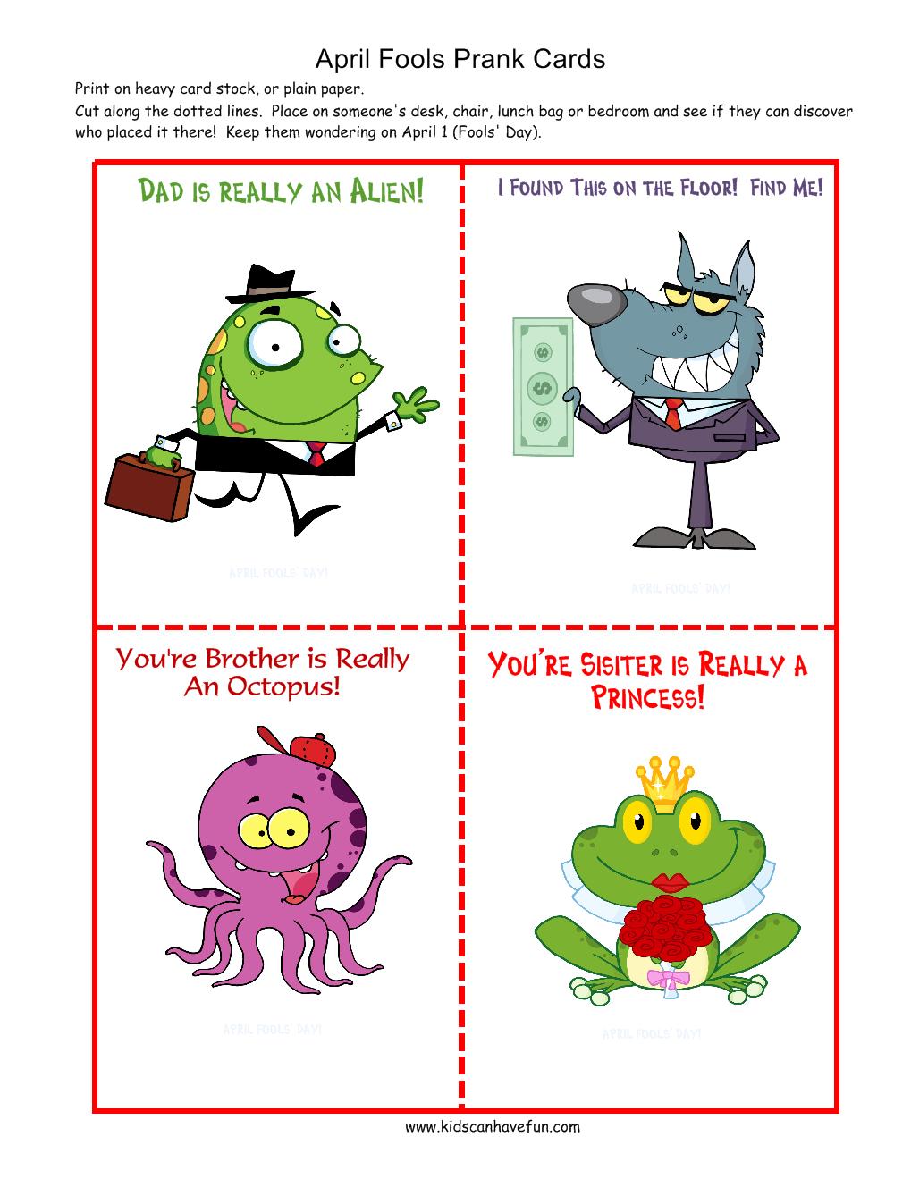 April Fools Day Printables For Kids