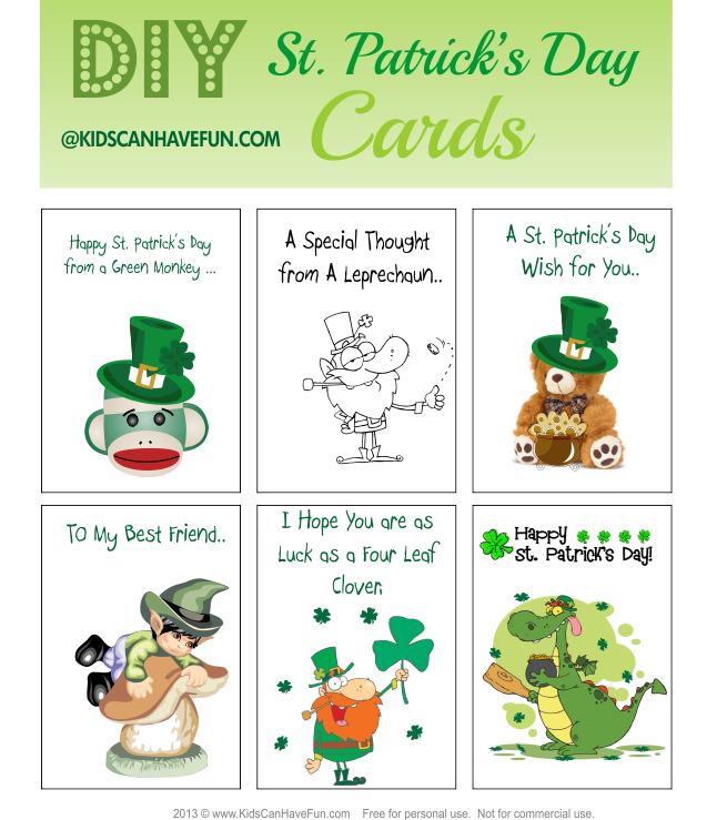 photograph about St Patrick's Day Cards Free Printable called St. Patricks Working day Routines Archives - KidsCanHaveFun Web site