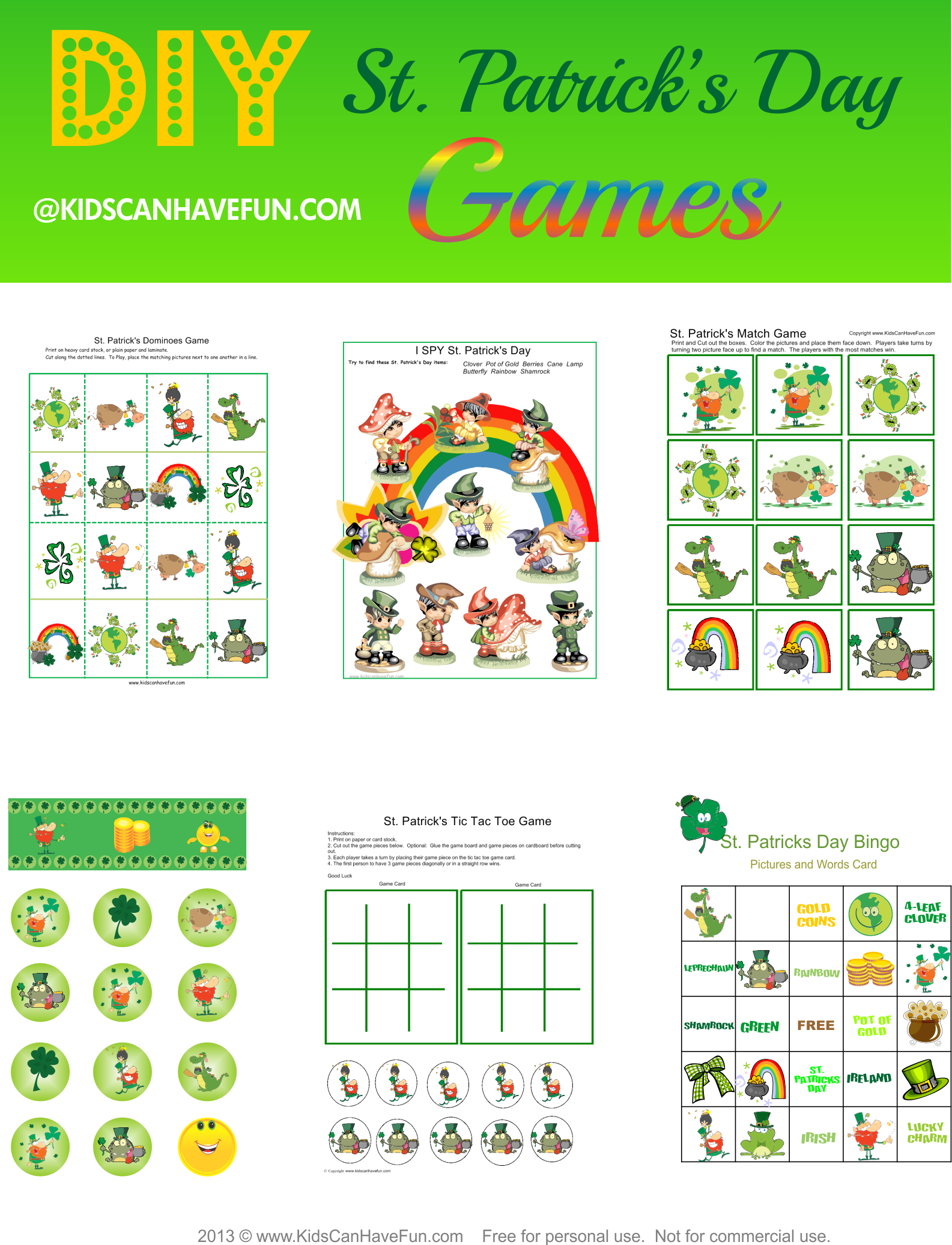image about St Patrick's Day Bingo Printable known as St. Patricks Working day Game titles, I SPY Leprechaun, Inexperienced Bingo, Dominoes